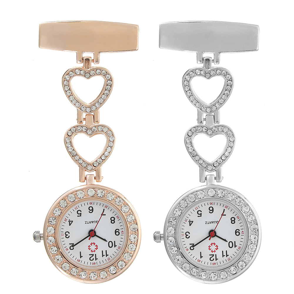 Luxury Stainless Steel Strap Crystal Heart Dial Quartz Fob Medic