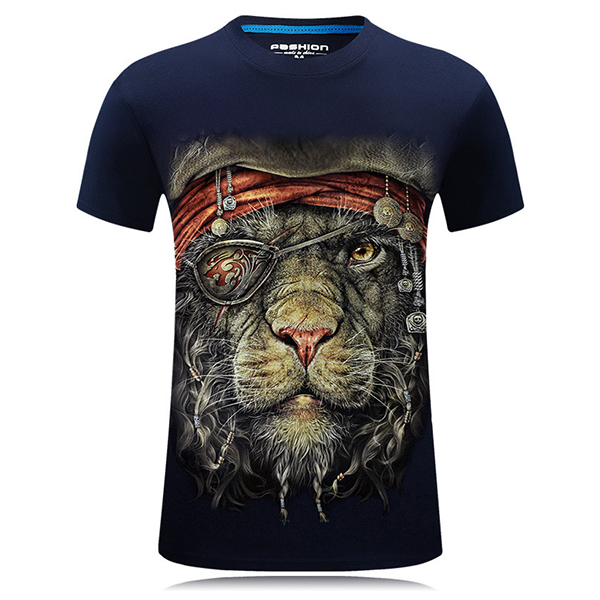 Plus Size S-4XL 3D One-eyed Animal Printed Short Tees Personalit