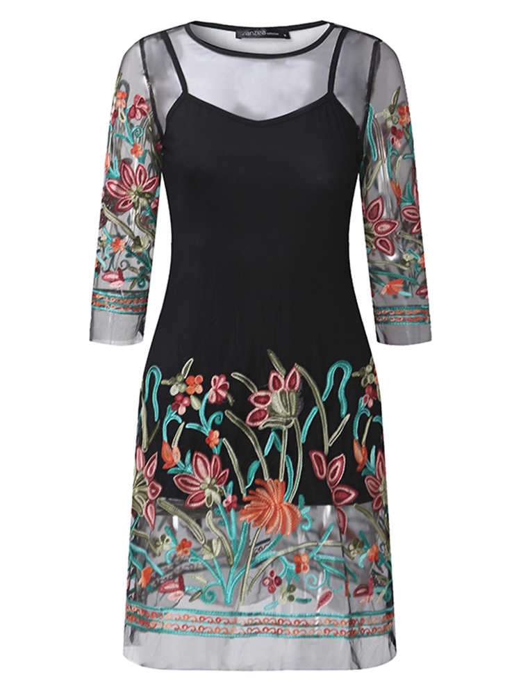 Black Women Floral Embroidered 3/4 Sleeve See-Through Mesh Mini