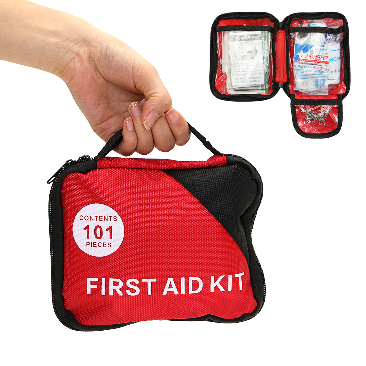 101 Pieces First Aid Kit Nylon Portable Outdoor Emergency Set Mu