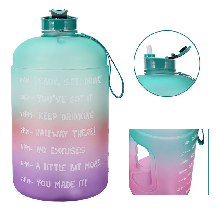 1 Gallon/3.78L PETG Time Marker Water Bottles Large High Capacit