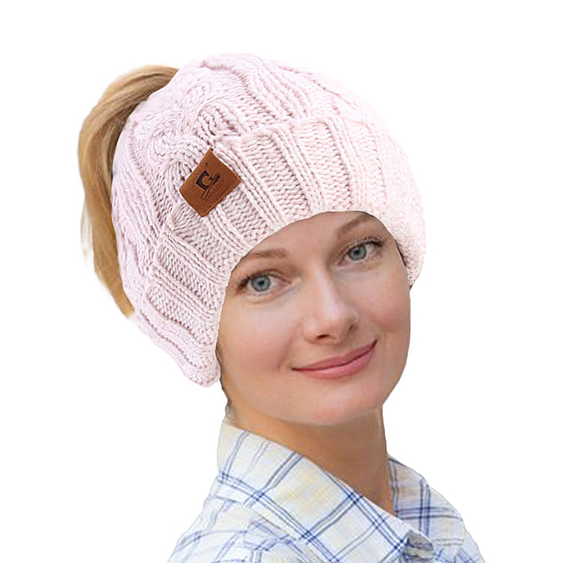 Middle-aged Outdoor Thicken Earmuffs Ponytail Beanie Caps Women