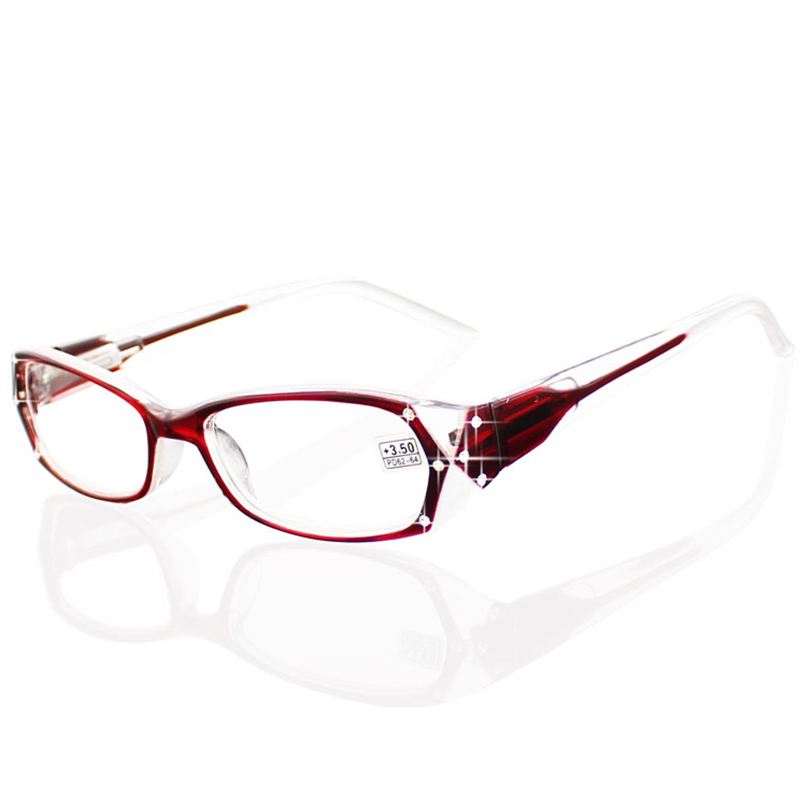 1.0-4.0 Diopter Lady Reading Glasses Spring Hinge Modern Rhinest