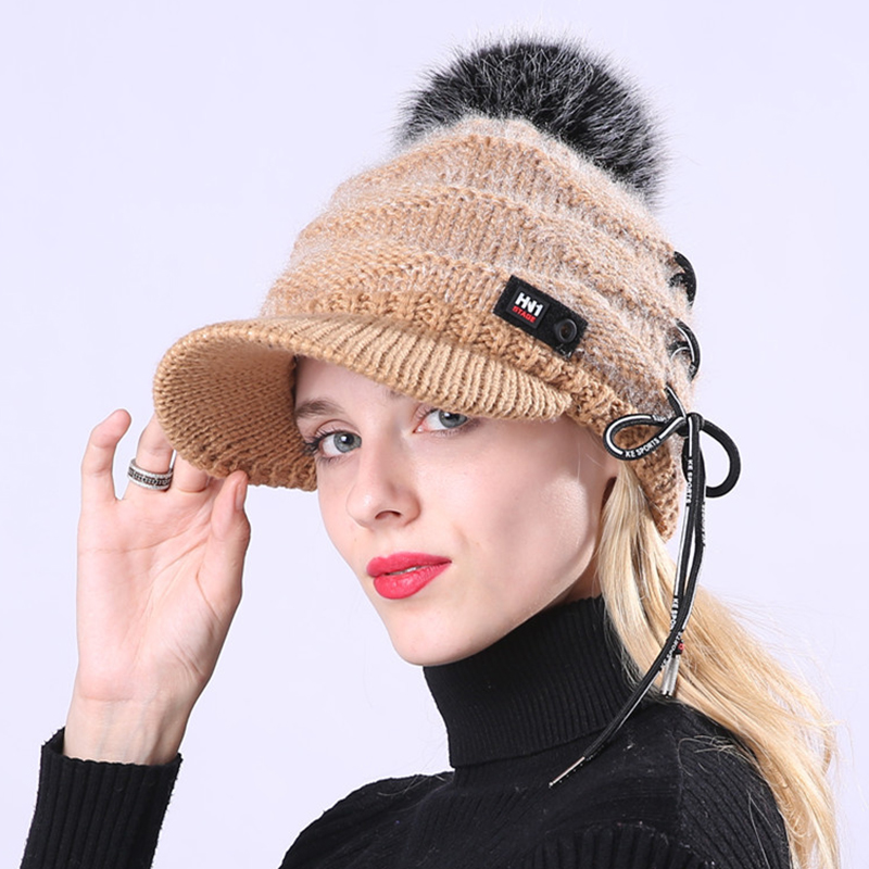 Outdoor Women Knitted Plush Knit Beret Hat with Wool Ball Earmuf