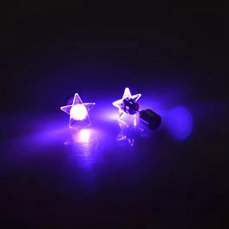 1 Pair Attractive LED Earrings Light Up Star Glowing Charm Ear S