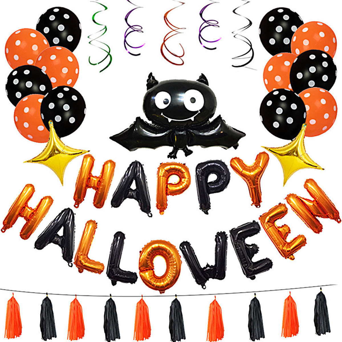 1 Set Happy Halloween Decorations Bat Balloon Party Hanging Lett