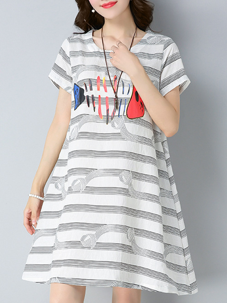 2018 Summer Style Linen Striped Print Cotton Tops Vintage Casual