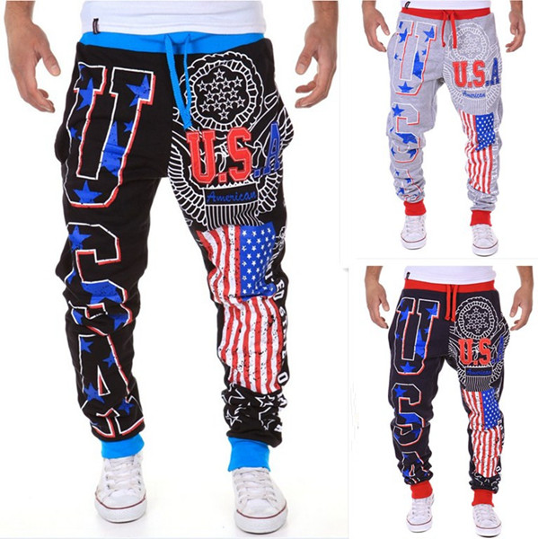 Men's Fashion Lace-Up Sports Jogger Pants USA Flag Printing Beam