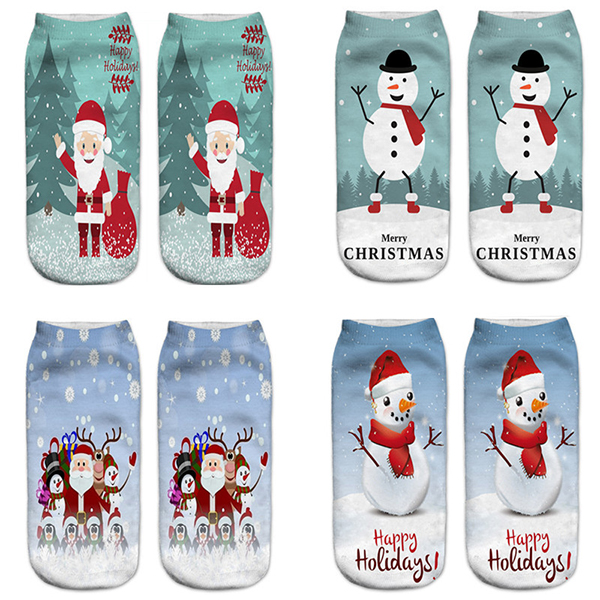 Women 3D Print Cute Santa Claus Ankle Socks Casual Low Cut Chris