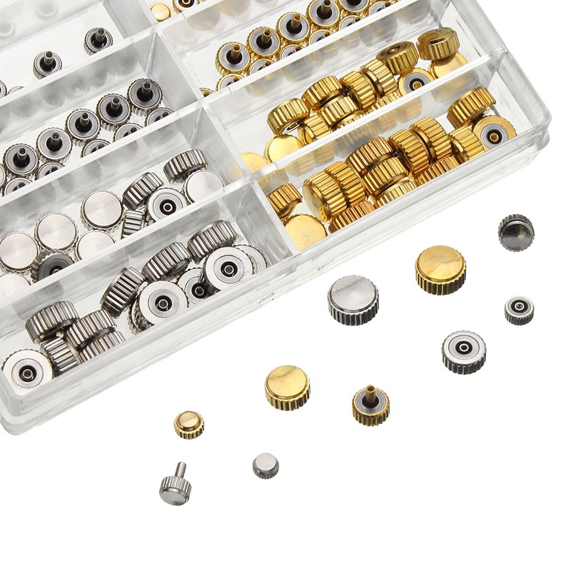 150pcs Mixed Silver Gold Watch Crown Watch Accessories Parts 10