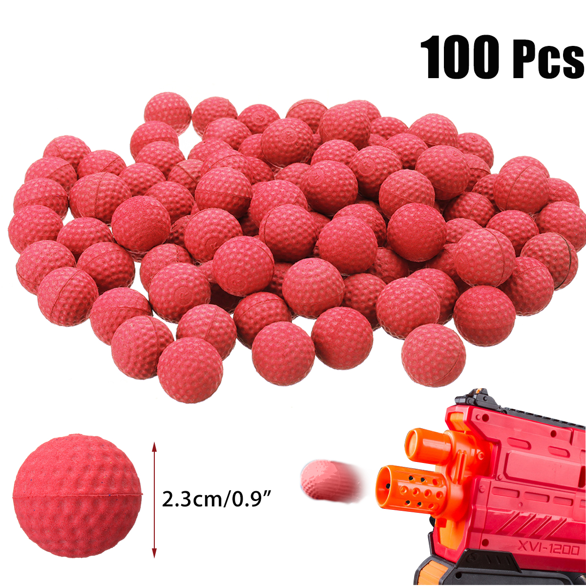 100Pcs 2.3cm PU Buoyancy Rounds Bullet Balls Kids Toy Ball for H