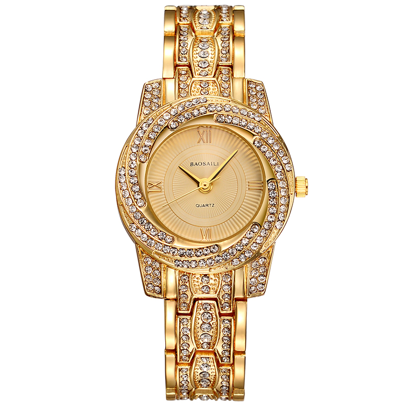 BAOSAILI BSL1030 Gold Plated Shining Quartz Watch Rhinestones La