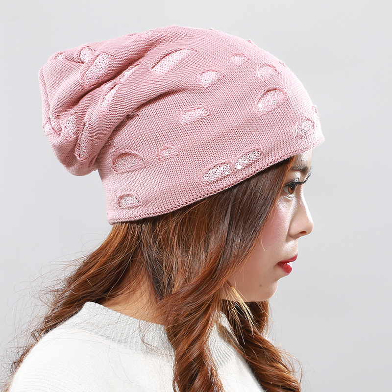 Men Women Winter Plush Kint Beanie Cap Outdoor Double Layers Ear