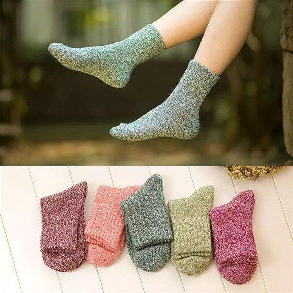 Women 's Plain Breathable Deodorization Knit Wool Cozy Crew Sock