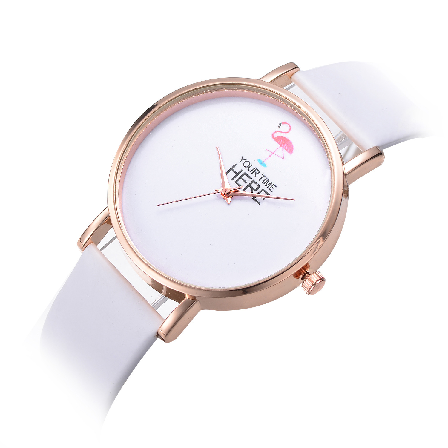 Casual Style Women Wrist Watch Rose Gold Case Leather Strap Quar