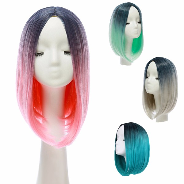 14 Heat Resistant Synthetic Gradient Color Cheap Hair Wig Ombre