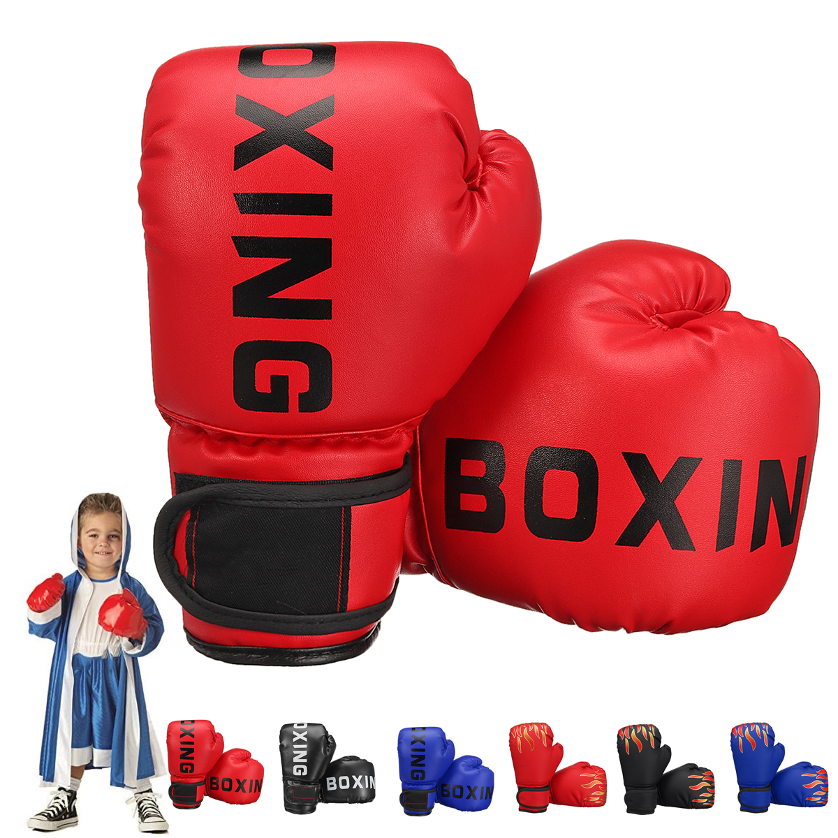 1 Pair PU Leather Children Boxing Gloves Kids Karate Taekwondo S