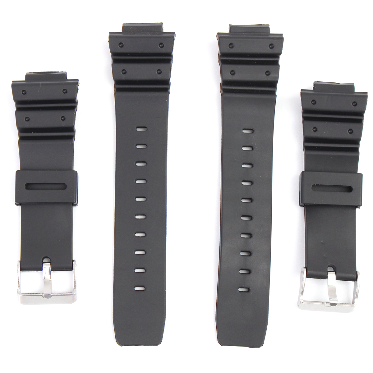 16mm Silicone Black Strap Watch Band Replacement with Pins for C