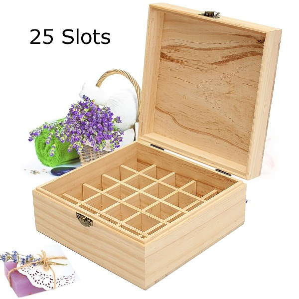 25 Slots Essential Oil Aromatherapy Wooden Storage Jewelry Box C