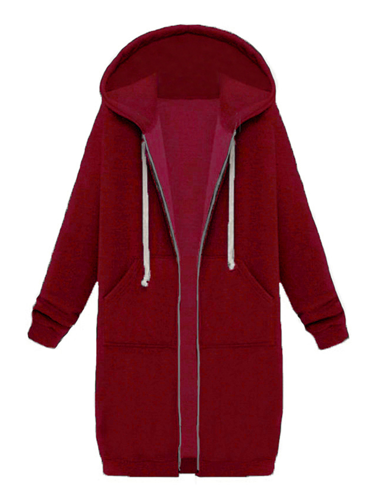 9 Colors Casual Women Long Sleeve Pockets Zip Up Hooded Sweatshi