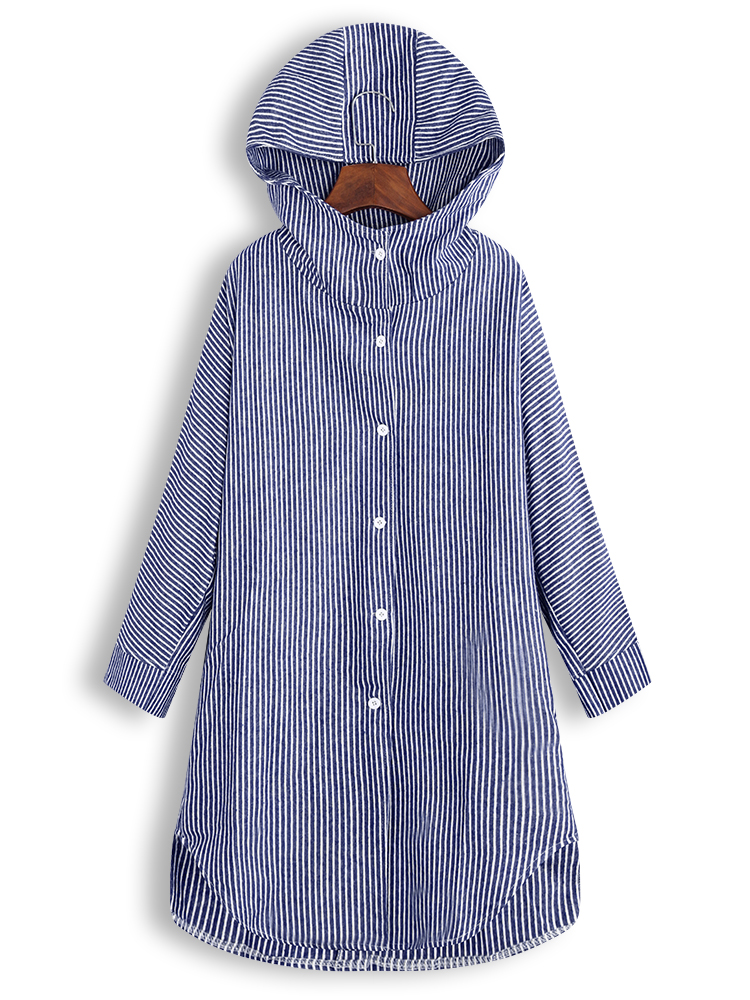 Asymmetrical Stripe Hooded Long Sleeve Coats