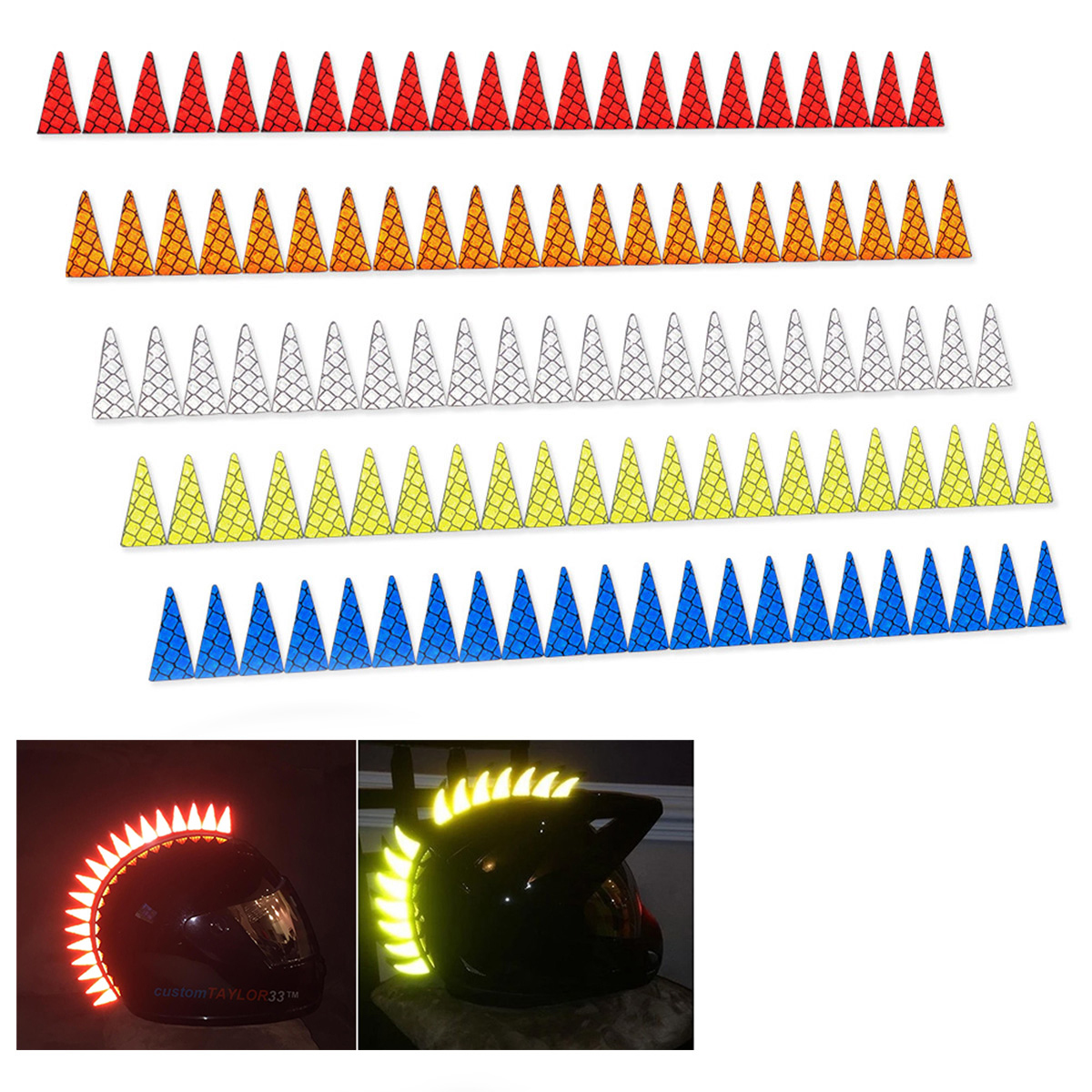 22 Blades Mohawk Warhawk Spikes Saw Reflective Sticker Decals Fo