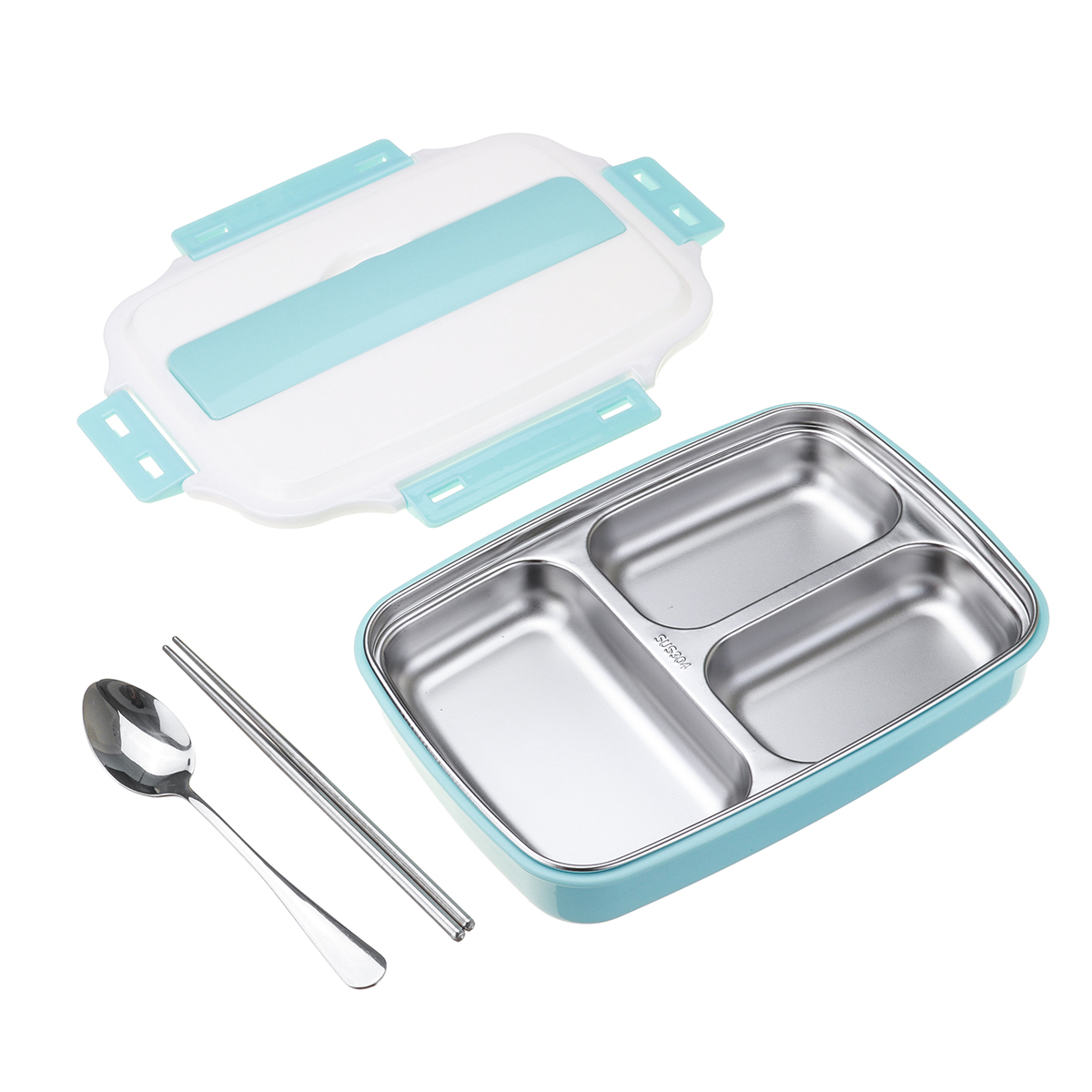 1.1L Stainless Steel Lunch Box Camping Picnic Tableware Food Con