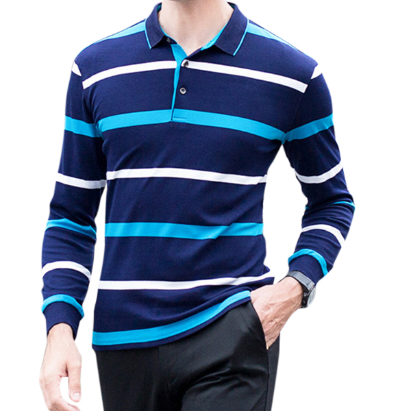 100% Cotton Striped Knitted Long Sleeve Casual Business Golf Shi