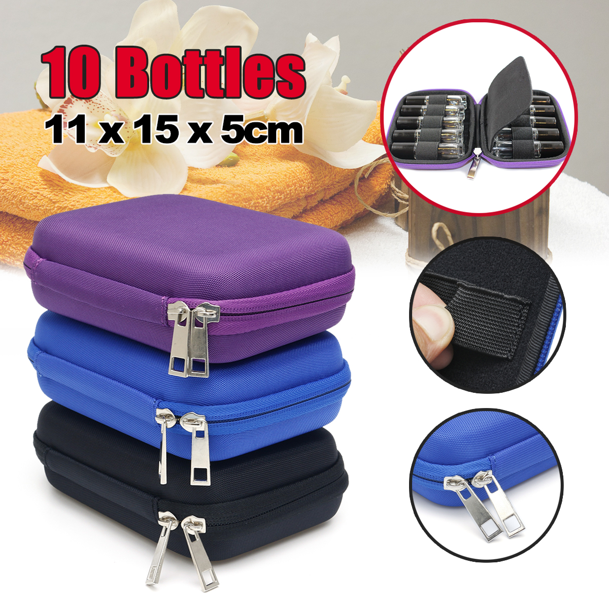 10 Bottles EVA Essential Oil Storage Bag Box Portable Carrying C