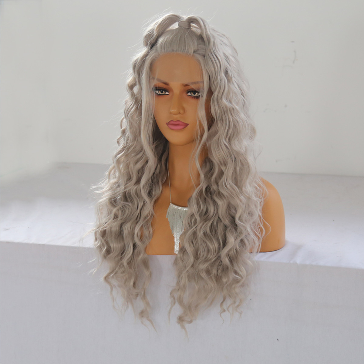 24'' Women Natural Wavy Lace Front Wig Girls Golden Blonde Curly