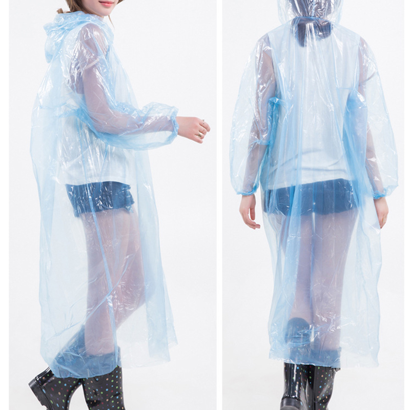 10PCS Blue Color Adult Hooded Thicken Disposable PE Raincoat Cam