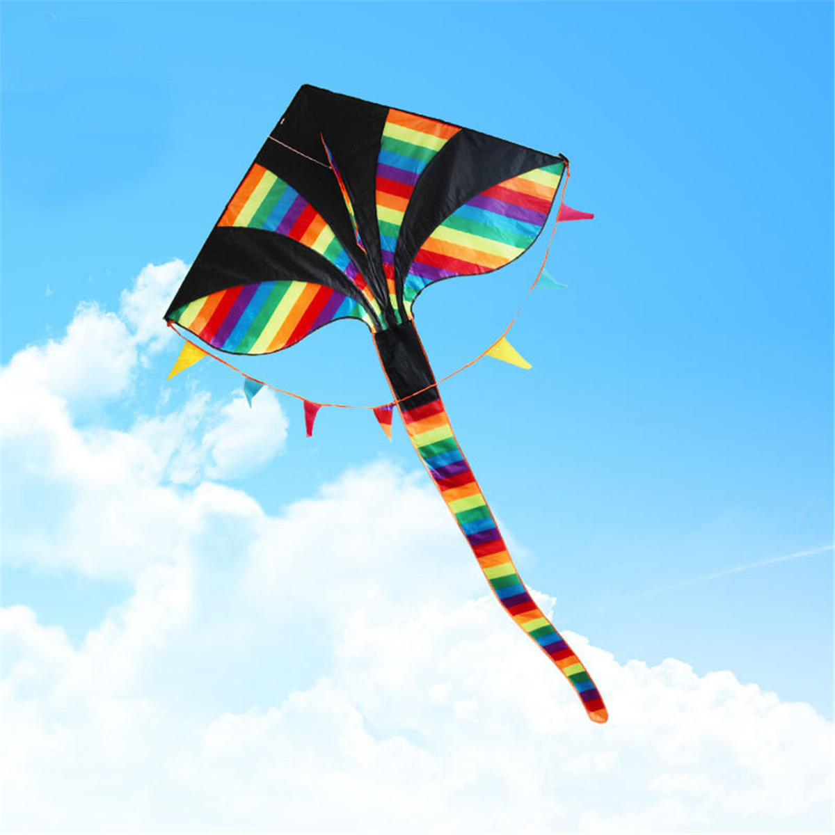 1.5M 59-Inch Colorful Triangle Kite Rainbow Kite Outdoor Funny S