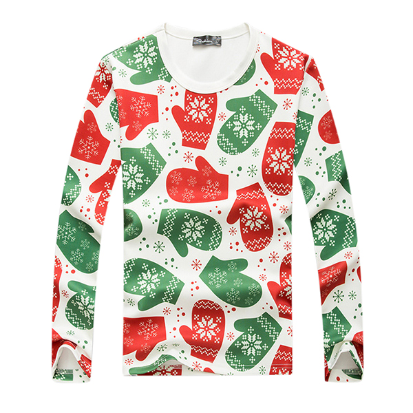 Christmas Gloves Printed Sweater Mens Casual Round Collar Pullov