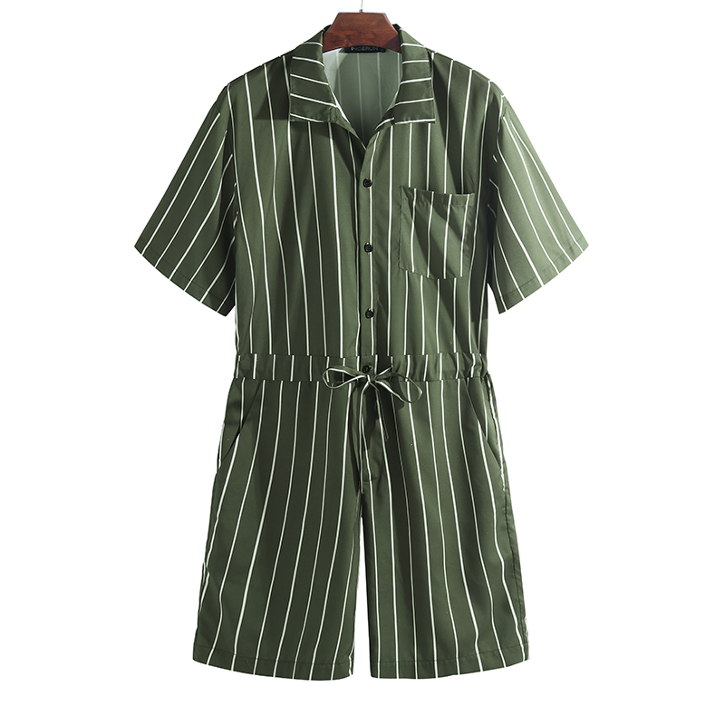 Mens Vintage Striped Rompers Set Short Sleeve Onesie Fashion Jum