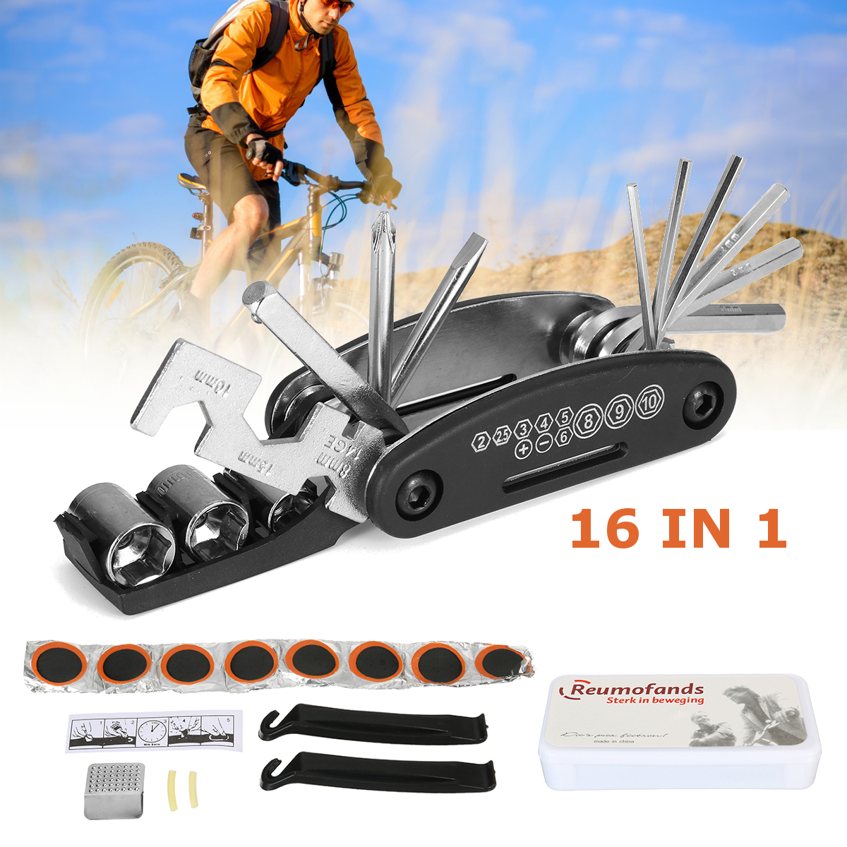 16 In 1 Multi-Function Bike Repair Tool Kit Grinding Film Torque