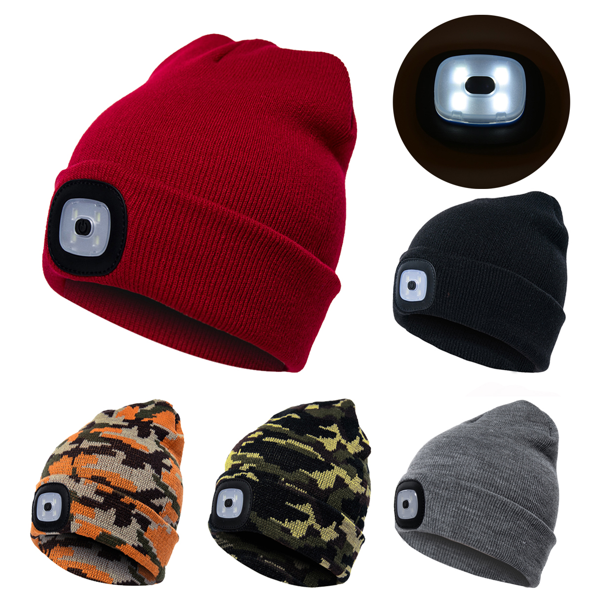3 Modes Brightness Winter Warm Knitted Hat LED Light Sports Hat