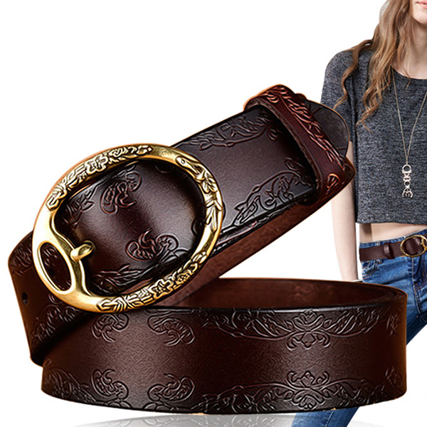 100CM Women Retro Printed Leather Belt Outdoor Fashion Carved Je