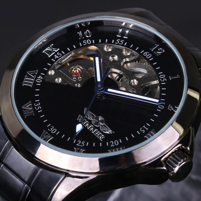 4805 Military Style Men Wrist Watch Stainless Steel Strap Self-W