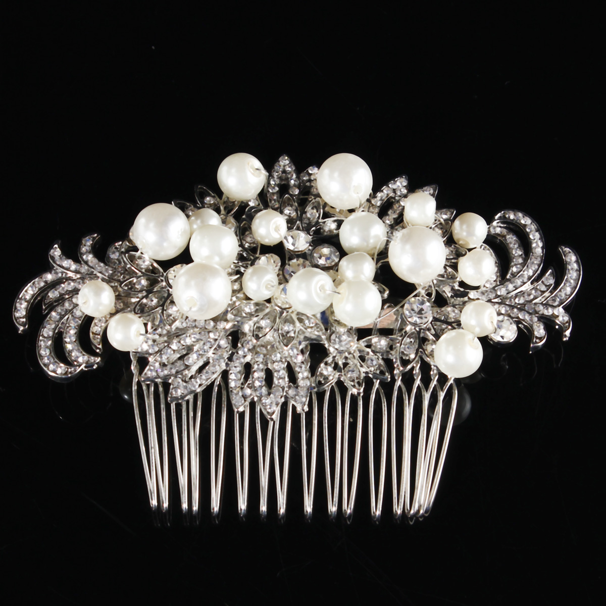 Bridal Artificial Pearl Crystal Rhinestone Flowers Diamante Hair