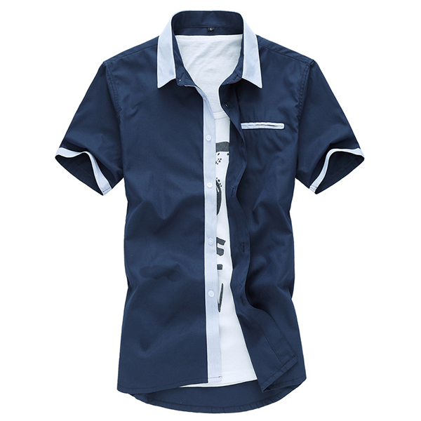 Mens Short Sleeve Fashion Casual Summer Cotton Label Shirts Plus