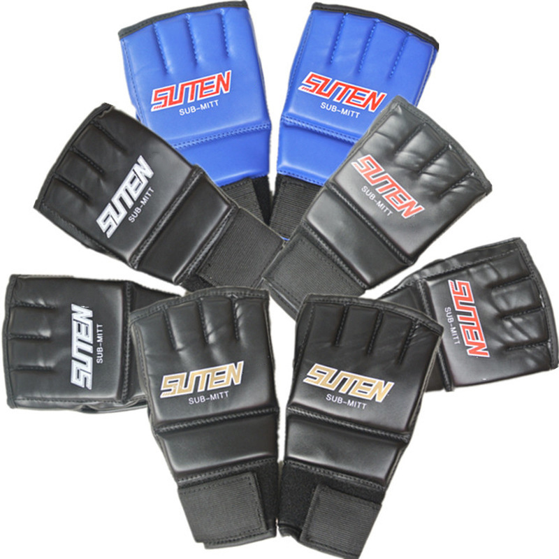 1 Pair Half Finger Boxing Gloves Training Grappling Martial Arts