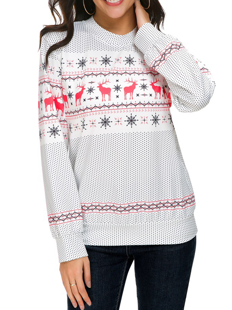 Autumn Winter Women Long Sleeve Deer Christmas Printed Sweatshir