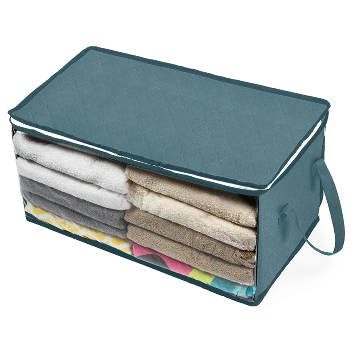 1 Pcs Clothes Storage Bag Foldable Zipper Organizer Pillows Quil