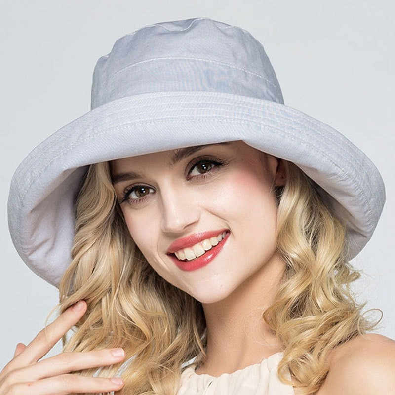 Women Adjustable Cotton And Linen Rolling Floppy Hat Sunshade Su