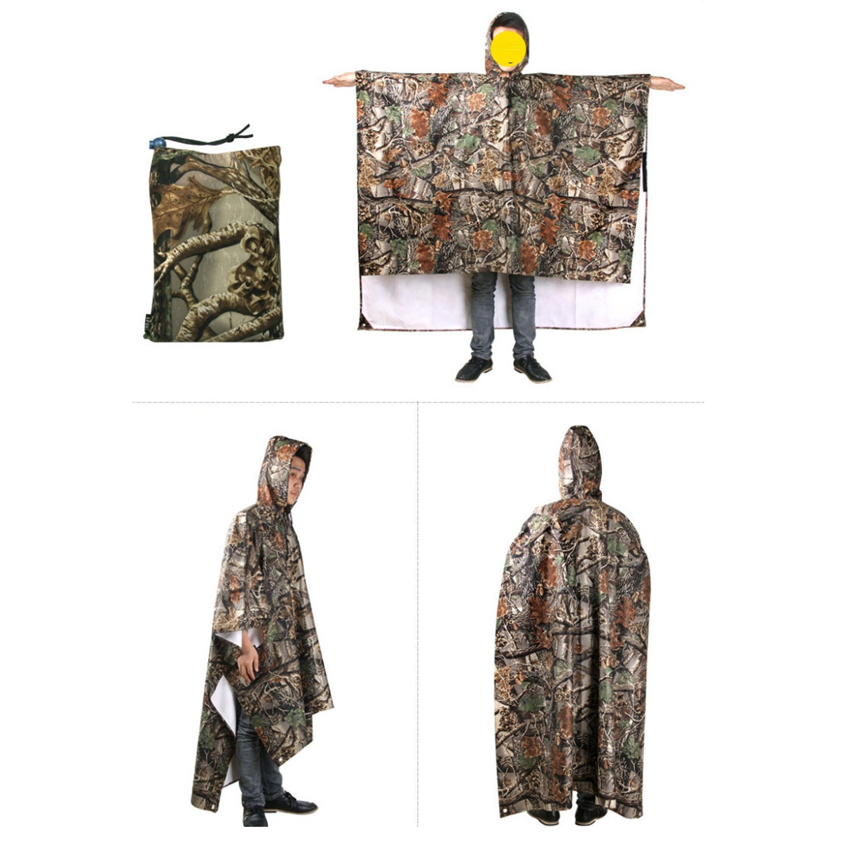3 In 1 Multifunctional Raincoat Poncho Backpack Camouflage Rain