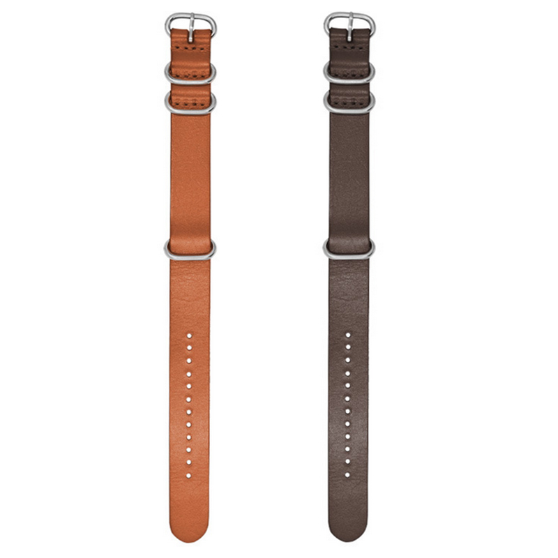 18/20/22mm Kraft Layer Leather Watch Strap Stainless Steel Rings