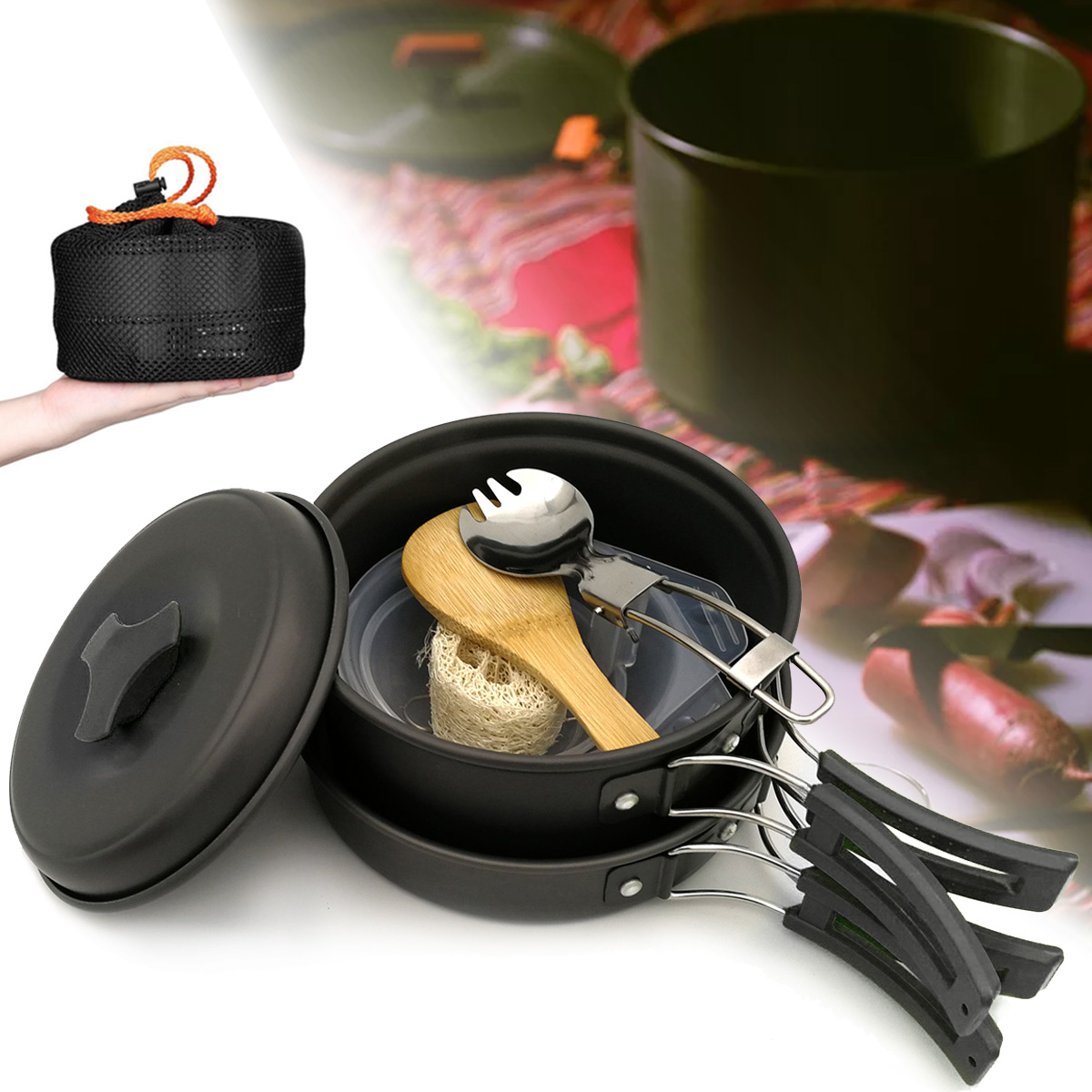 1-2 People Portable Cookware Set Backpacking Gas Butane Propane