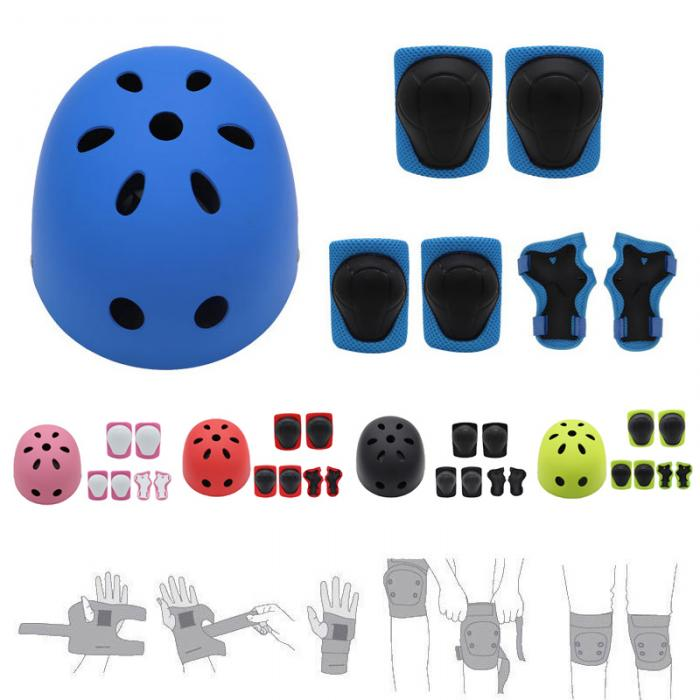 7Pcs/Set Kids Sport Protetive Kit Children Bicycle Helmet + Knee