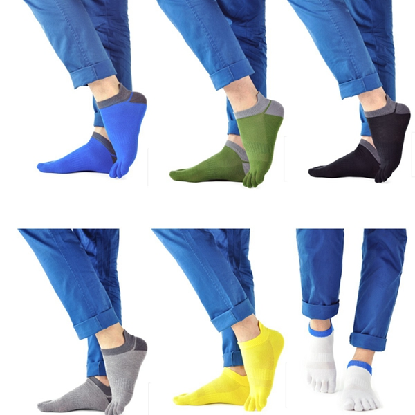 1 Pair Of Mens Cotton Toe Socks Five Finger Sports Outdoor Work