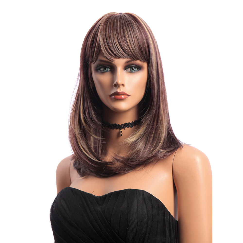16 Inch Medium Long Natural Straight Synthetic Hair Wigs KANEKAL
